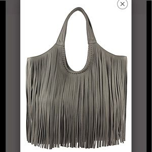 Jennifer Haley  large leather fringe tote bag